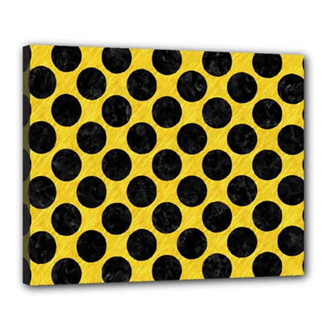 Circles2 Black Marble & Yellow Colored Pencil Canvas 20  X 16