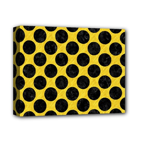 Circles2 Black Marble & Yellow Colored Pencil Deluxe Canvas 14  X 11