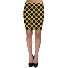 Circles2 Black Marble & Yellow Colored Pencil Bodycon Skirt