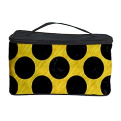 Circles2 Black Marble & Yellow Colored Pencil Cosmetic Storage Case