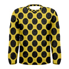 Circles2 Black Marble & Yellow Colored Pencil Men s Long Sleeve Tee