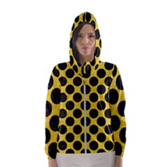 Circles2 Black Marble & Yellow Colored Pencil Hooded Wind Breaker (women)