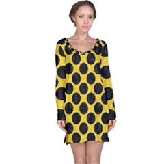 Circles2 Black Marble & Yellow Colored Pencil Long Sleeve Nightdress
