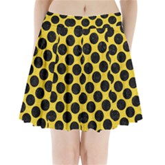 Circles2 Black Marble & Yellow Colored Pencil Pleated Mini Skirt