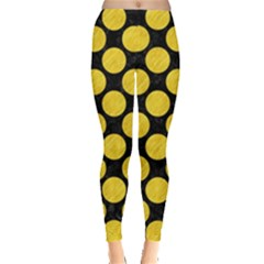 Circles2 Black Marble & Yellow Colored Pencil (r) Leggings