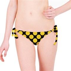 Circles2 Black Marble & Yellow Colored Pencil (r) Bikini Bottom
