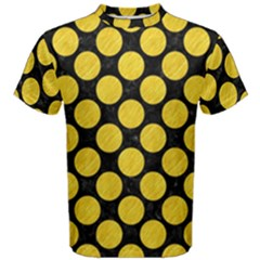 Circles2 Black Marble & Yellow Colored Pencil (r) Men s Cotton Tee
