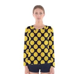 Circles2 Black Marble & Yellow Colored Pencil (r) Women s Long Sleeve Tee