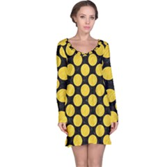Circles2 Black Marble & Yellow Colored Pencil (r) Long Sleeve Nightdress