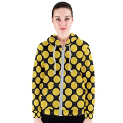 Circles2 Black Marble & Yellow Colored Pencil (r) Women s Zipper Hoodie