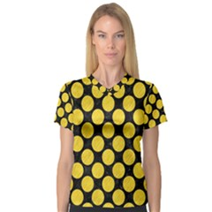 Circles2 Black Marble & Yellow Colored Pencil (r) V Neck Sport Mesh Tee