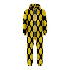 Circles2 Black Marble & Yellow Colored Pencil (r) Hooded Jumpsuit (kids)