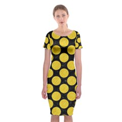 Circles2 Black Marble & Yellow Colored Pencil (r) Classic Short Sleeve Midi Dress