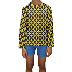 Circles3 Black Marble & Yellow Colored Pencil Kids  Long Sleeve Swimwear