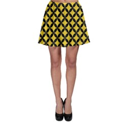 Circles3 Black Marble & Yellow Colored Pencil Skater Skirt
