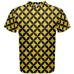 Circles3 Black Marble & Yellow Colored Pencil Men s Cotton Tee