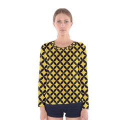 Circles3 Black Marble & Yellow Colored Pencil Women s Long Sleeve Tee