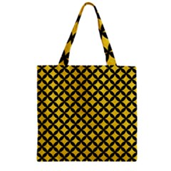 Circles3 Black Marble & Yellow Colored Pencil Zipper Grocery Tote Bag
