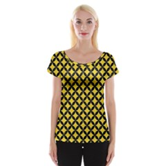 Circles3 Black Marble & Yellow Colored Pencil Cap Sleeve Tops
