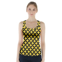 Circles3 Black Marble & Yellow Colored Pencil Racer Back Sports Top