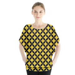 Circles3 Black Marble & Yellow Colored Pencil Blouse