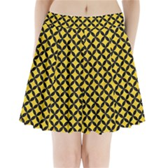 Circles3 Black Marble & Yellow Colored Pencil Pleated Mini Skirt