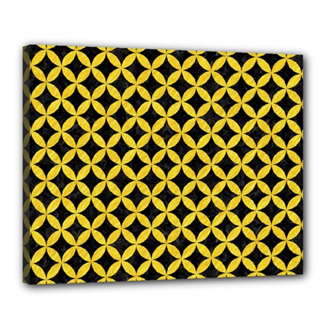 Circles3 Black Marble & Yellow Colored Pencil (r) Canvas 20  X 16