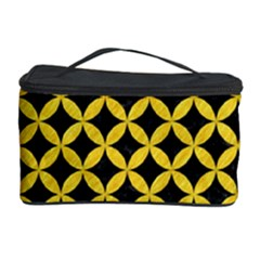 Circles3 Black Marble & Yellow Colored Pencil (r) Cosmetic Storage Case