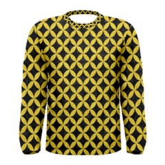Circles3 Black Marble & Yellow Colored Pencil (r) Men s Long Sleeve Tee