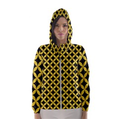 Circles3 Black Marble & Yellow Colored Pencil (r) Hooded Wind Breaker (women)
