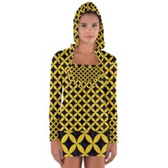 Circles3 Black Marble & Yellow Colored Pencil (r) Long Sleeve Hooded T Shirt