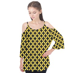Circles3 Black Marble & Yellow Colored Pencil (r) Flutter Tees