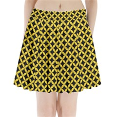 Circles3 Black Marble & Yellow Colored Pencil (r) Pleated Mini Skirt