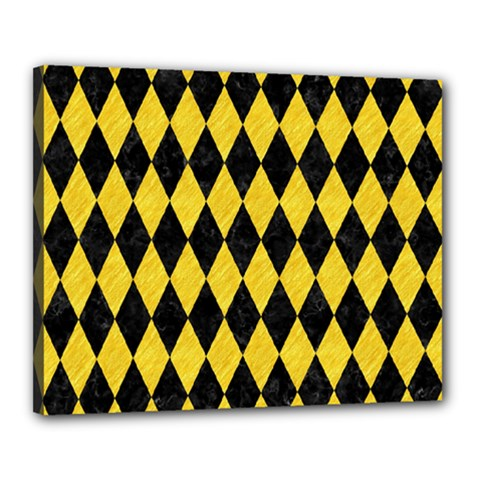 Diamond1 Black Marble & Yellow Colored Pencil Canvas 20  X 16