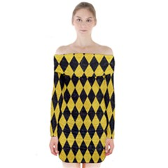 Diamond1 Black Marble & Yellow Colored Pencil Long Sleeve Off Shoulder Dress