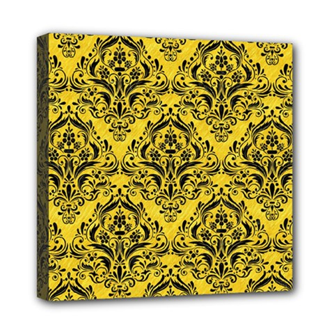Damask1 Black Marble & Yellow Colored Pencil Mini Canvas 8  X 8