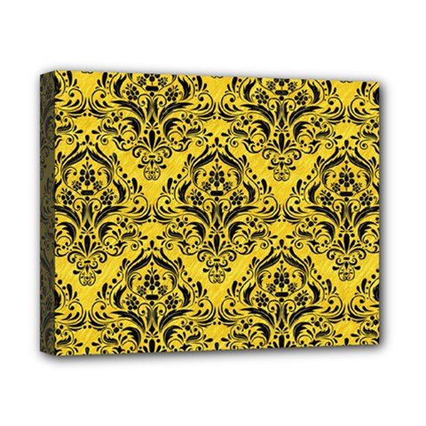 Damask1 Black Marble & Yellow Colored Pencil Canvas 10  X 8