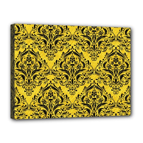 Damask1 Black Marble & Yellow Colored Pencil Canvas 16  X 12