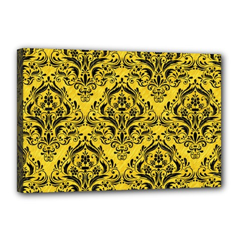 Damask1 Black Marble & Yellow Colored Pencil Canvas 18  X 12