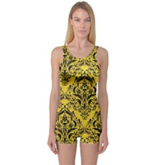 Damask1 Black Marble & Yellow Colored Pencil One Piece Boyleg Swimsuit