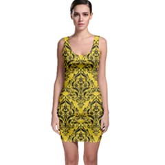 Damask1 Black Marble & Yellow Colored Pencil Bodycon Dress