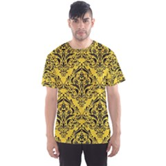 Damask1 Black Marble & Yellow Colored Pencil Men s Sports Mesh Tee