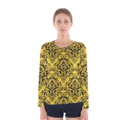 Damask1 Black Marble & Yellow Colored Pencil Women s Long Sleeve Tee