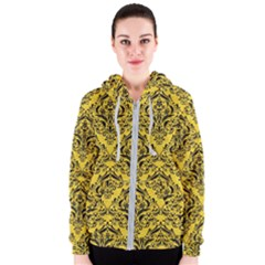 Damask1 Black Marble & Yellow Colored Pencil Women s Zipper Hoodie