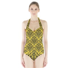 Damask1 Black Marble & Yellow Colored Pencil Halter Swimsuit