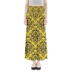 Damask1 Black Marble & Yellow Colored Pencil Full Length Maxi Skirt
