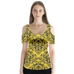Damask1 Black Marble & Yellow Colored Pencil Butterfly Sleeve Cutout Tee