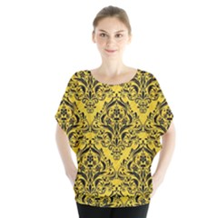 Damask1 Black Marble & Yellow Colored Pencil Blouse