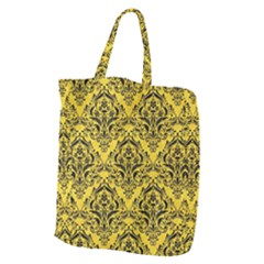 Damask1 Black Marble & Yellow Colored Pencil Giant Grocery Zipper Tote