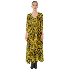 Damask1 Black Marble & Yellow Colored Pencil Button Up Boho Maxi Dress
